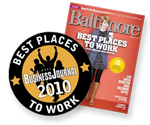 Baltimore Business Journal and Baltimore magazine Best Places To Work 2010