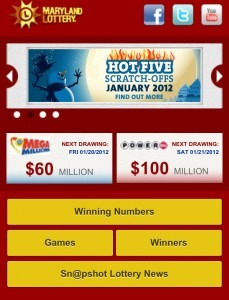 MD Lottery Mobile Website