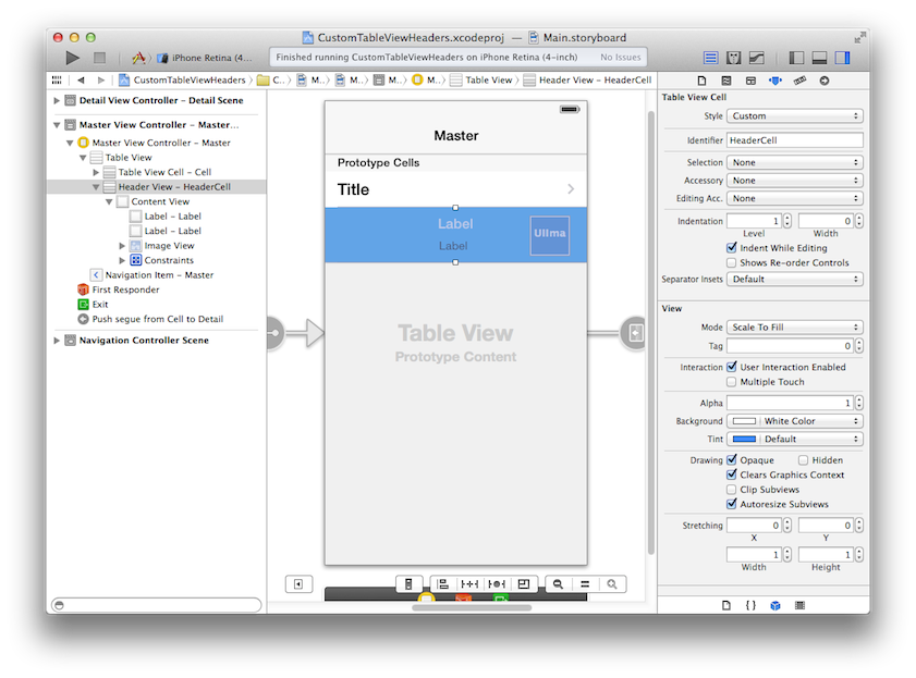 Xcode settings for custom header view.